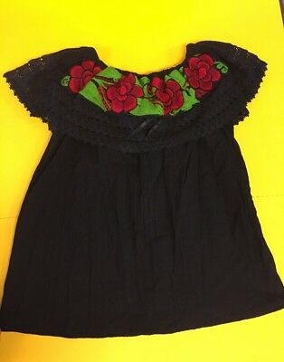 Women Peasant Mexican Embroidered Ruffle Blouse -Hand Made -Black/Red Roses