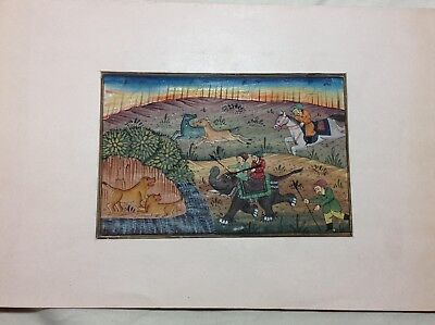 Antique Indian Mughal Painting- Lion Hunt