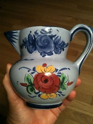 "Portugal Small Blue Hand Painted Pitcher Flowers 5"" Tall Pottery 548"