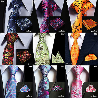 New Season Floral Tie & And Pocket Square Set Highest Quality Silk Hanky Set Mix