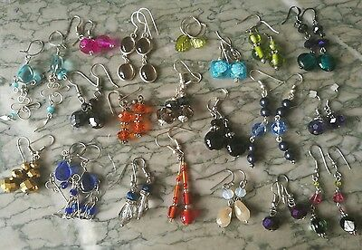 Job Lot Of Glass Earrings Including Silver 925