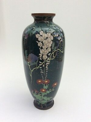 Antique stunning Japanese silver wire cloisonné ginbari vase signed