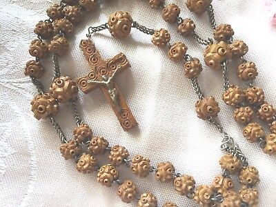 French antique vintage old carved wooden Rosary Beads necklace with wood cross