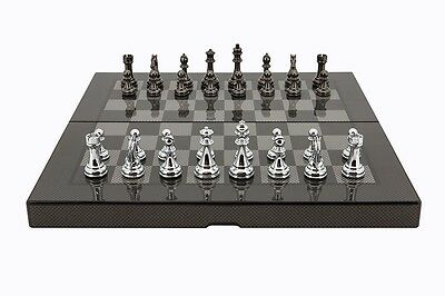 Dal Rossi Carbon Fibre Finish Folding Chess Set, 15""