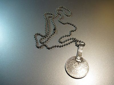 Pendant Moroccan 10 Francs Solid Silver Coin