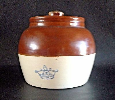Vintage Robinson Ransbottom Blue Crown #2 Bean Pot Crock 2 Toned Brown with Lid