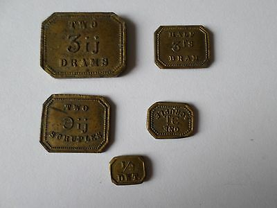Set of 5 Standard W & T A dram apothacary jewellers coin weights