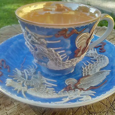 Japanese Demitasse Dragonware CUP and SAUCER, made in occupied Japan, 1945-1950