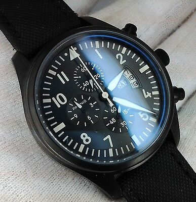 Parnis Aviator Black Pvd Military Chronograph Uhr Orologio Montre Watch
