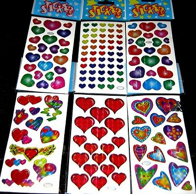 Bulk Lot x 24 Mixed Heart Sticker Sheets 572 Stickers Kids Party Favor Free Post