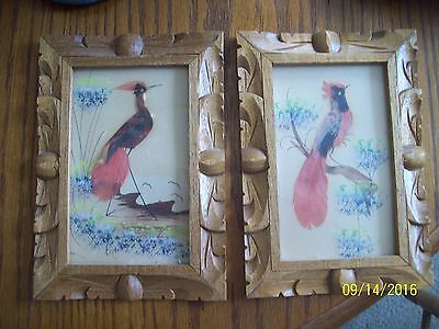 Set Of 2 Vintage Made in Mexico Feathercraft Bird Prints - Real Feathers