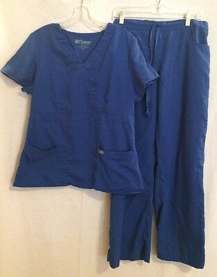 Grey's Anatomy Blue Scrubs Top & Pants, Large, Excellent Used Condition