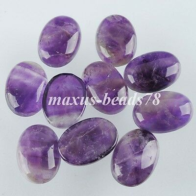 Amethyst Oval Cabochon CAB No Drill Hole 18x25mm Jewelry Making 5PCS MN2046