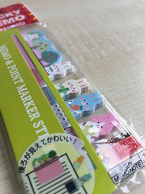 Cute Bunny Rabbits Sticker Bookmark Marker Memo Index Tab Sticky Note 180 Pages
