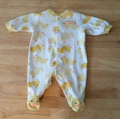 Carters Girls Boys 3 months one piece Cotton Yellow Duck Footed Sleeper Pajamas