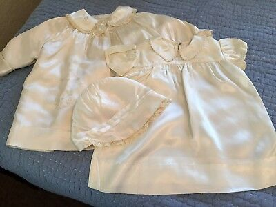 Vintage 3-piece Infant Christening Gown Set FREE SHIPPING