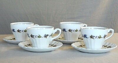 4 Cups And 4 Saucers Set- J & G Meakin England – Woodland Classic White Pattern