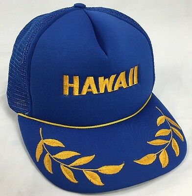 2bae79cad80 Vintage Hawaii Hat Captain 1980s Snapback Trucker Baseball Cap blue gold