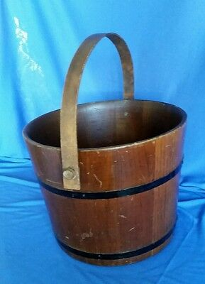 Antique Vintage Wood Farm Sap Bucket Swing Handle Large Metal Straps Original