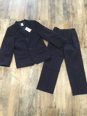 Gymboree Boys Size 7 Navy Blue Blazer & Pants Set Suit Coat 2 Button