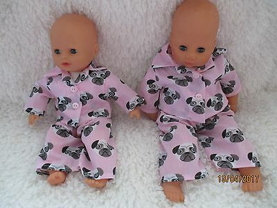 Handmade babydoll pyjamas Pug Design- 2 Colours and sizes  available