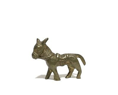 Adorable Antique Small Bronze Donkey With Saddle Figurine Collectable