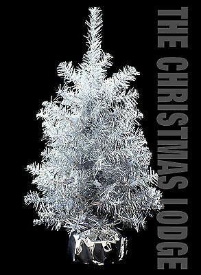 SILVER TINSEL TABLE TOP ARTIFICIAL CHRISTMAS TREE with 35 CLEAR LIGHTS
