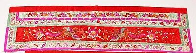 China Chinese Embroidered Red Silk Embroidered Phoenix Bird Panel Textile 20th c