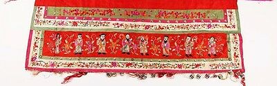 China Chinese Embroidered Red Silk Embroidered Immortals Panel Textile 20th c