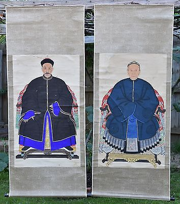 Pair of Antique Chinese Ancestor Portrait Painting on Silk Fabric Scroll, 19th c