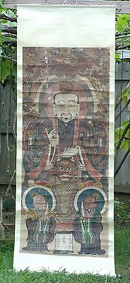 Antique Chinese Scroll Painting of Buddha on Silk Fabric / Tang Ka, 19th c