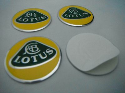 SET of 4 metal ALLOY WHEELS SELF STICKERS CENTER CAPS  - MANY SIZES LOTUS YW
