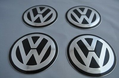 SET of 4 metal ALLOY WHEELS SELF STICKERS CENTER CAPS  - MANY SIZES VW CHROME