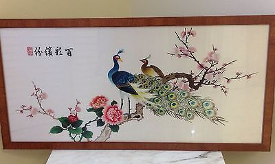 Gorgeous Japanese Silk Scarf Framed Embroidered Peacocks And Flowers
