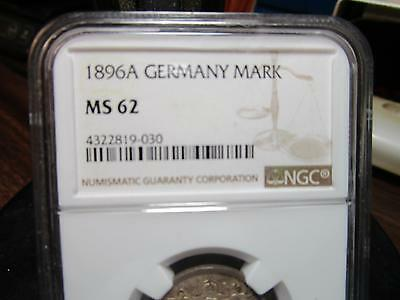 1896-A - Germany - One Mark - Silver - NGC-MS-62