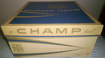 Vintage 1950s Square Mens Champ Hats Stanhope Cardboard Storage Box Container