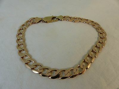 Gent's 9ct 9carat Yellow Gold Curb Linked Bracelet, 11 grams 8 1/2''
