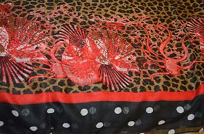 Antica Sartoria Scarf Black/red Brown Shells And Leapord  Nwt 42 X 70 Inches