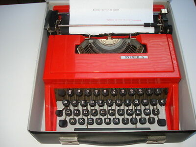 machine à écrire typewriter ancienne vintage design rouge Oxford avec coffre box