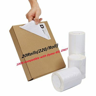 20 Rolls 220/Roll 4x6 Direct Thermal Shipping Labels Compatible Dymo 4XL 1744907