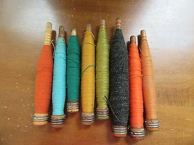 Vintage Primitives Lot of 8 Wooden Textile Bobbins Spools Spindles Thread Yarn