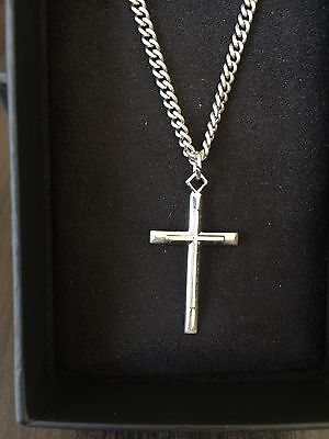 """Sterling Silver Cross Pendant With 24"""" Inch Chain. New In Box"""
