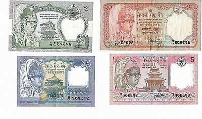 Asia: Lote 1-2-5-20 Rupias (Rupees) Nepal. Año ¿? Con Serie. Rc+/mbc+. Ideal.