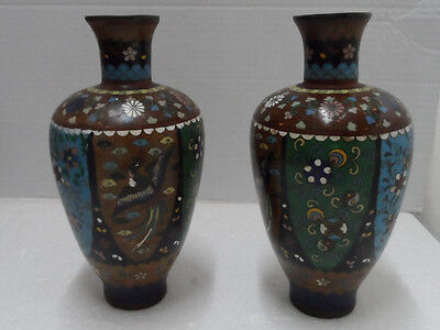 Pair of Excellent  Antique 19C Meiji Japanese Cloisonné Pitcher Jugs/Vases H 8""