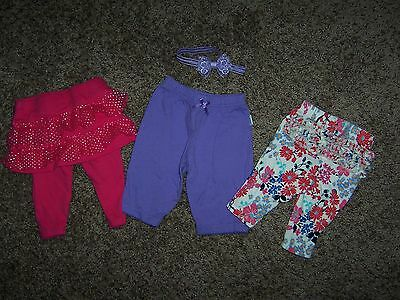Infant Baby Girl Pants, Pant/Skirt, Lot of 3, Size 0 - 3 Months