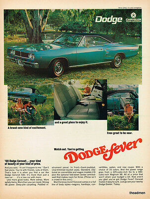 "1968 Dodge Coronet ""dodge Fever"" Vintage Original Laminated Ad Art"