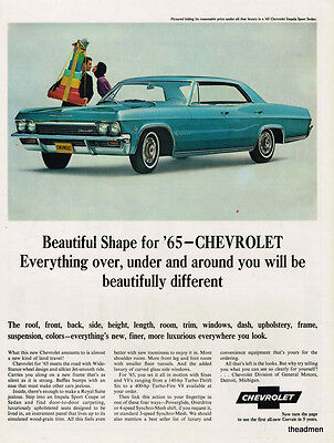1965 Chevrolet Impala 4 Door Vintage Original Laminated Ad Art