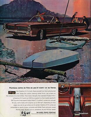 1964 Pontiac Catalina 2+2 Convertible Vintage Original Laminated Ad Art