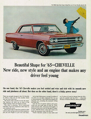 1965 Chevrolet Chevelle 2 Door Vintage Original Laminated Ad Art
