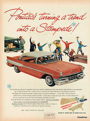 1957 Pontiac Super Chief 2 Door Vintage Original Laminated Ad Art